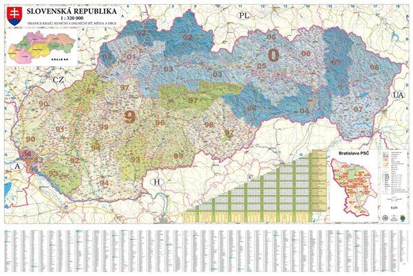 Slovensko - nástěnná mapa PSČ 135 x 90 cm - 135 x 90 cm