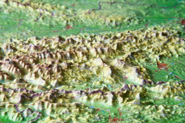 Rakousko - plastická reliéfní mapa 77 x 57 cm - 77x57 cm