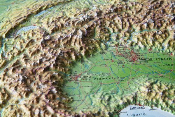 Alpy rámovaná reliéfní plastická mapa 1:1 200 000 - 80 x 60 cm, Doprava zdarma