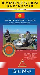 Kyrgyzstan 1:750t mapa / Bishkek 1:30t plán města