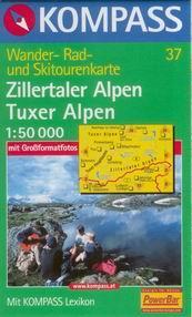 Zillertaler Alpen,Tuxer Alpen - mapa Kompass č.37 - 1:50t /Rakousko,Itálie/