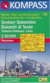 Sextenské Dolomity - mapa Kompass č.58 - 1:50t /Rakousko,Itálie/