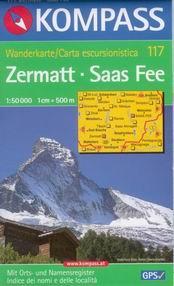 Zermatt, Saas Fee - mapa Kompass č.117 - 1:50t / Švýcarsko,Itálie/