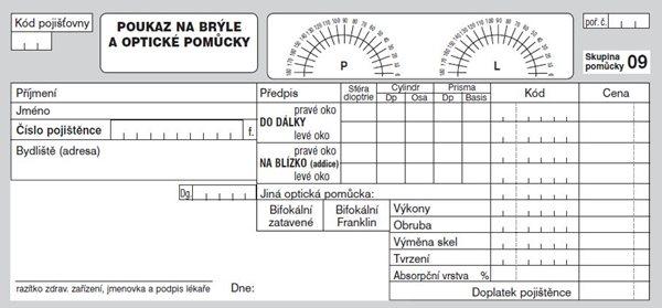 12- Poukaz na brýle a optické pomůcky - volné listy 1/3 A4, gramáž kancelářského papíru (80 g)