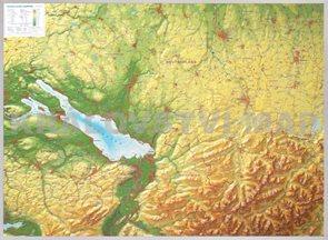 Bodensee - plastická reliéfní mapa 80 x 60 cm