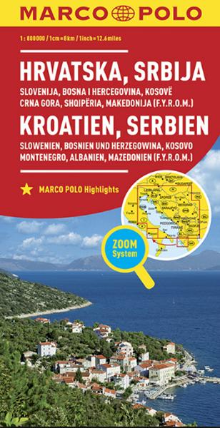 Chorvatsko, Srbsko, Slovinsko, Bosna 1:800T/mapa
