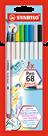 STABILO Pen 68 brush Vláknový fix - sada 8 barev