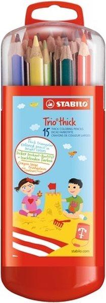 STABILO Trio thick Pastelky trojhranné silné Zebrui - 15 barev