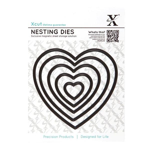 Vyřezávací kovové šablony Xcut - Srdce hladké (5ks)