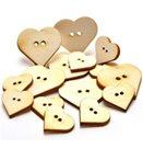 Dřevěné knoflíky - srdíčka - výřezy (15ks)