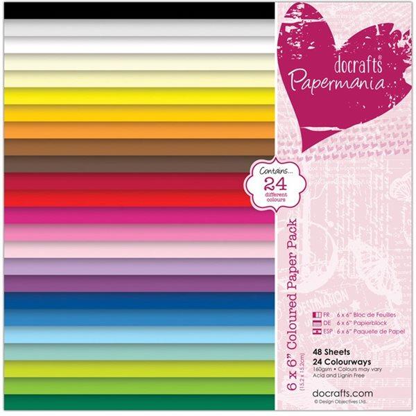 Sada barevných papírů 15x15cm (48ks)