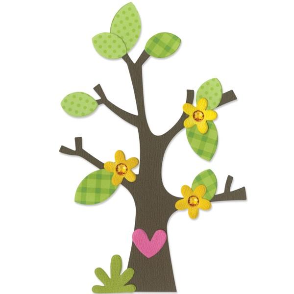 Vyřezávací šablona Bigz - Strom, květiny, srdce a listy
