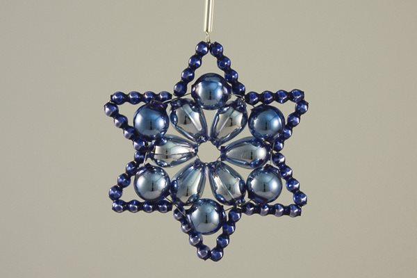 Sada na výrobu ozdoby z perliček - Huderovka - stříbrná/modrá