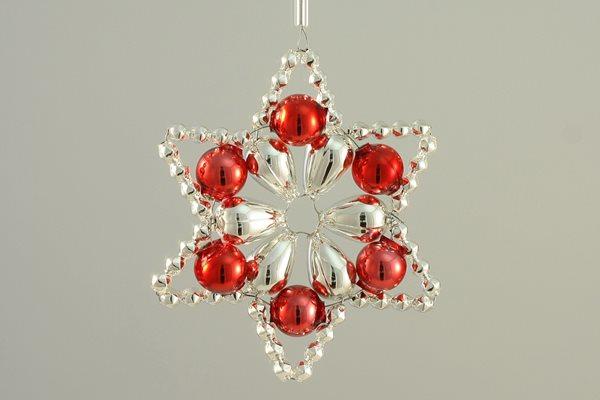 Sada na výrobu ozdoby z perliček - Huderovka - stříbrná/červená