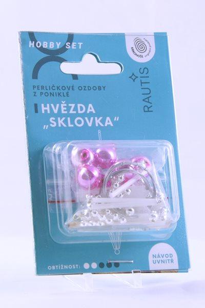 Sada na výrobu ozdoby z perliček - Sklovka - růžová/bílá/stříbrná
