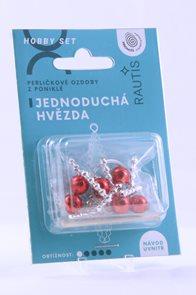 Sada na výrobu ozdoby z perliček - Jednoduchá hvězda - stříbrná/červená