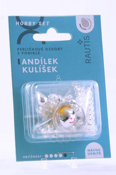 Sada na výrobu ozdoby z perliček - Andílek Kulíšek - stříbrný/bílý
