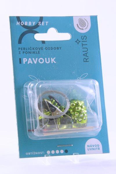 Sada na výrobu ozdoby z perliček - Pavouček - zelený