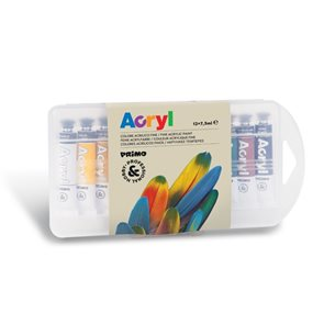 Akrylové barvy PRIMO, sada 12 x 7,5 ml