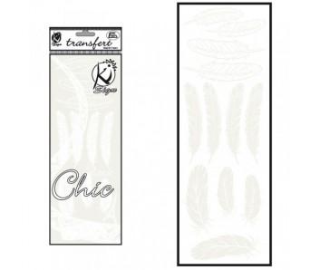 Nažehlovací obrázek - sametový bílý - Peří