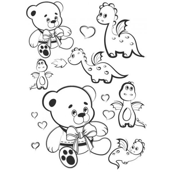 Nažehlovací obrázek A4 - Medvídě a dinosaurus