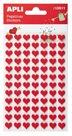 Filcové samolepky - červená srdce - 2 listy