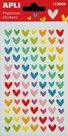 Plastické samolepky - duhová srdce - 1 list