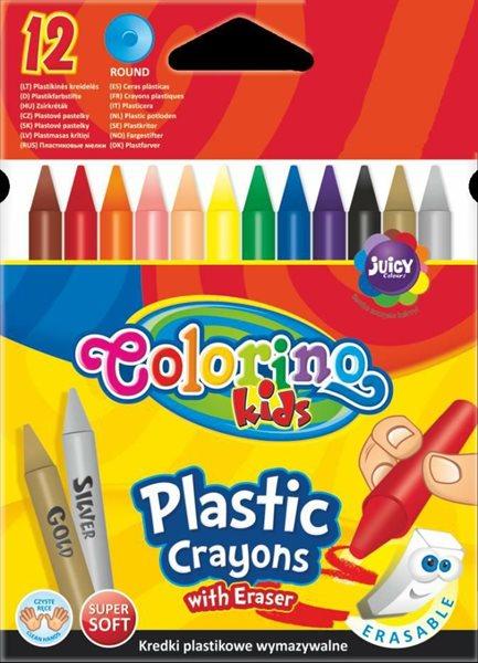 Plastové pastelky Colorino ( typ progresso ) - 12 barev ( včetně tělové, stříbrné a zlaté )