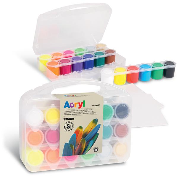 Akrylové barvy sada 18 x 25ml, 2 x plátno, PP box
