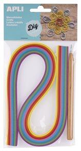 APLI Papírové proužky - quilling sada, mix barev + quillingové pero, 120 ks