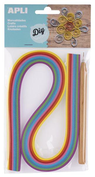 Papírové proužky - quilling sada, mix barev + nástroj, 120 ks