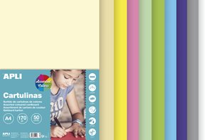 APLI Sada barevných papírů, A4, 170 g, 50 listů, mix pastelových barev