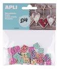 APLI čtvercové knoflíky, mix barevných motivů, 35 ks