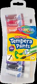 Temperové barvy Colorino, 10 barev + štětec v plastovém pouzdře, tuba 10 ml