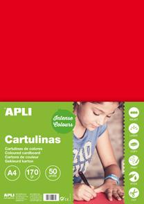 APLI sada barevných papírů, A4, 170 g, červený - 50 ks