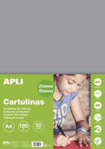 APLI sada barevných papírů, A4, 170 g, šedý - 50 ks
