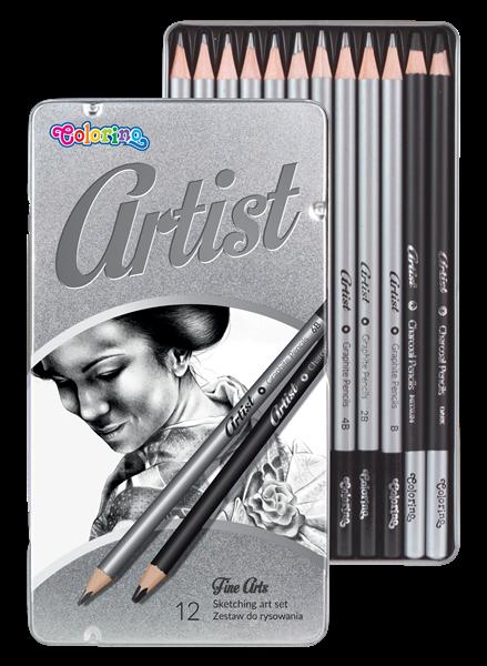 Colorino Artist Kreslířská sada grafitových tužek a uhlů, 12ks