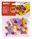 APLI Plastové knoflíky, mix tvarů a barev (60 ks)