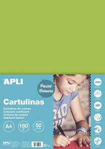 APLI sada barevných papírů, A4, 170 g, světle zelený - 50 ks