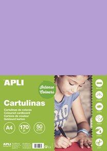 APLI sada barevných papírů, A4, 170 g, fialový - 50 ks