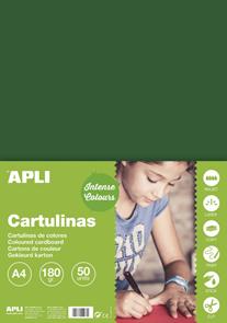 APLI sada barevných papírů, A4, 170 g, tmavě zelený - 50 ks