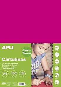 APLI sada barevných papírů, A4, 170 g, fuchsiový - 50 ks