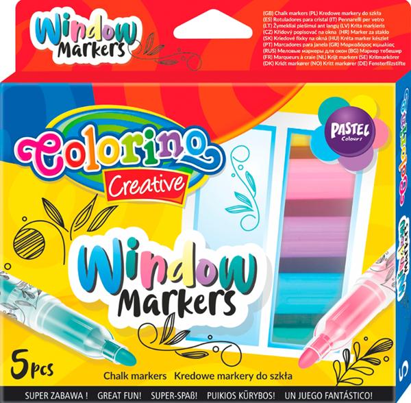 Křídové popisovače na sklo Colorino - pastelové odstíny, sada 5 barev