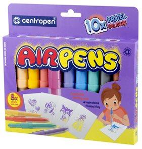 Centropen Foukací fixy AIR PENS 1500/10 PASTEL - sada 10 barev se šablonami