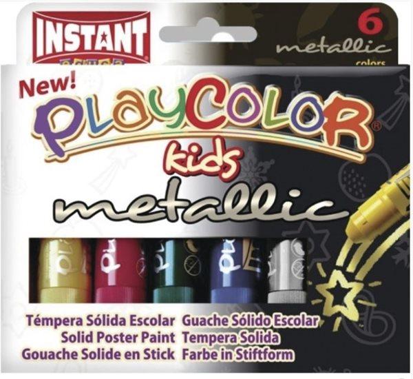 Playcolor - tuhé temperové barvy 6 kusů - metalické