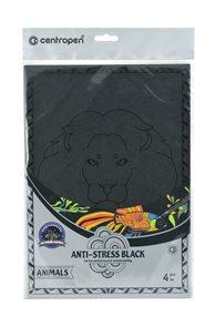 Centropen Černé antistresové omalovánky Animals - sada 4 ks
