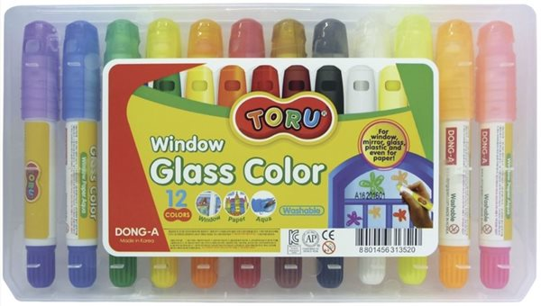 Barvy na sklo výsuvné Dong 12 ks