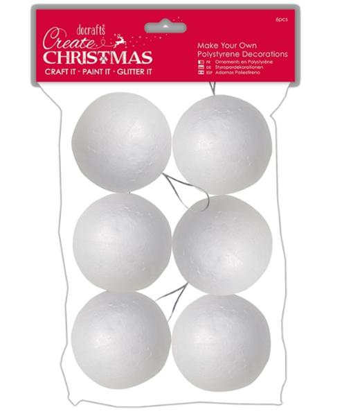 Polystyrenové koule - 7 cm, 6 ks - závěs