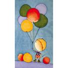 Hedvábný šátek s předkresleným motivem 60 x 40 cm - chlapec s balónkami