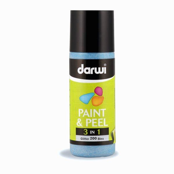 DARWI 3D slupovací barva na sklo, 80ml, glitrová - modrá